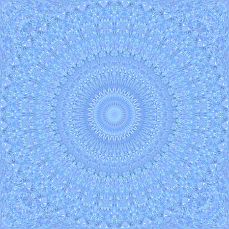 Blue seamless kaleidoscope pattern background - abstract ethnic vector mandala wallpaper graphic with curved shapes