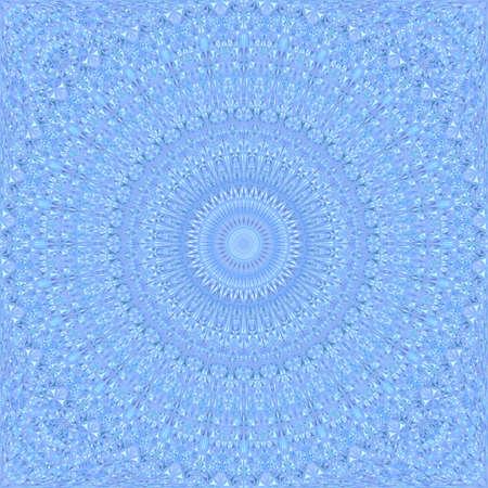 Fond bleu transparent kaléidoscope - graphique abstrait papier peint mandala vecteur ethnique avec des formes courbes