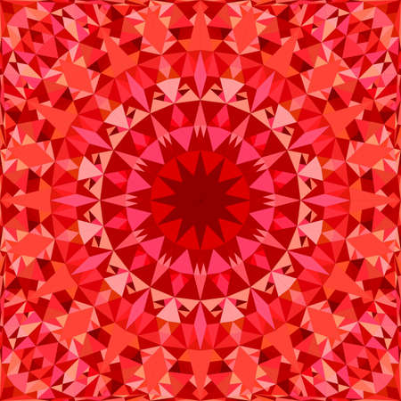 Red abstract repeating triangle mosaic tile kaleidoscope mandala pattern wallpaper - tribal vector background design