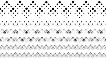 Geometrical dotted pattern page break set - black and white abstract vector design elements from dots