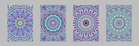 Colorful abstract gravel mosaic mandala pattern flyer background template set - vector stationery graphic designs Иллюстрация