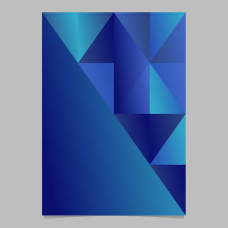 Geometrical minimal gradient triangle mosaic background template - polygonal blue vector page
