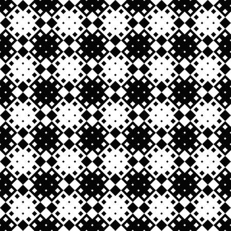 Geometrical square pattern background - monochrome abstract vector design from diagonal squares
