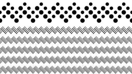 Geometrical dotted pattern dividing line set - black and white abstract vector graphic design elements Illustration