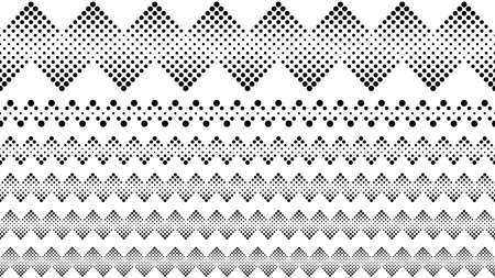 Geometrical dotted pattern text divider set - abstract vector graphic design elements