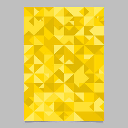 Mosaic triangle poster template design - polygonal golden vector stationery background