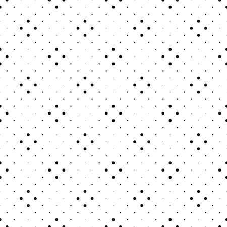 Monochrome seamless dot pattern background - black and white abstract vector illustration Ilustração