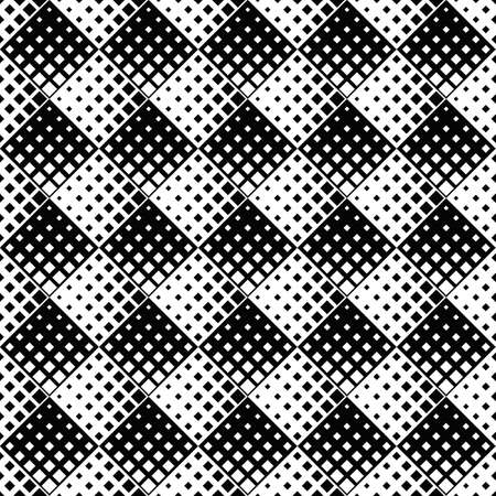 Geometrical seamless square pattern background design - abstract black and white vector illustration from diagonal squares
