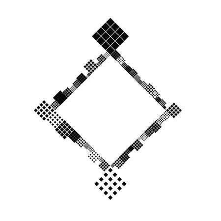 Abstract diagonal monochrome square border design element