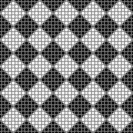 Seamless monochrome circle pattern background - black and white vector design Иллюстрация