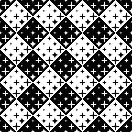 Geometrical seamless star pattern background - abstract black and white vector graphic design Stock Illustratie