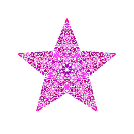 Geometrical isolated abstract floral mosaic star polygon