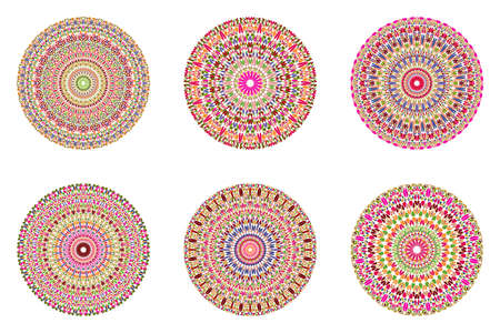 Round abstract circular gravel pattern mandala set