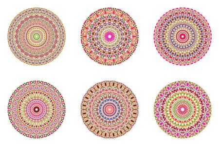 Round abstract circular gravel pattern mandala set