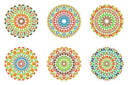 Ornate colorful abstract stone mandala symbol set Иллюстрация