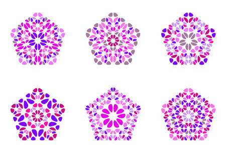 Abstract ornate isolated petal ornament pentagon shape set Vektorgrafik