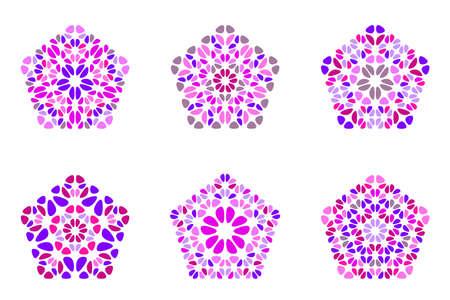 Insieme di forma del pentagono dell'ornamento del petalo isolato ornato astratto Vettoriali