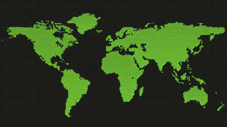 Halftone world map background - graphic design with dots