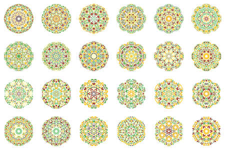Geometrical colorful ornate flower mandala symbol set - ornamental abstract round vector design elements from geometric shapes