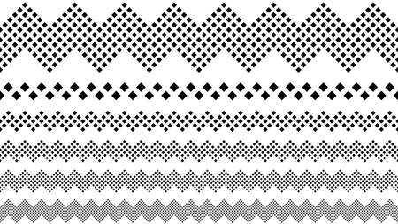 Repeating geometrical square pattern page break set - monochrome abstract vector graphic design elements from squares