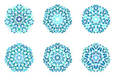 Insieme di poligono ettagono di ornamento di pietra ornato astratto isolato - elementi grafici vettoriali geometrici ornamentali da forme geometriche Vettoriali