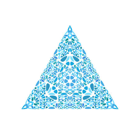 Ornate colorful flower triangle shape - geometrical triangular geometric abstract vector element