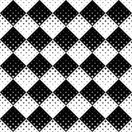 Black and white geometrical star pattern background Ilustração