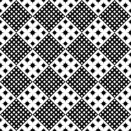 Black and white seamless abstract curved star pattern background