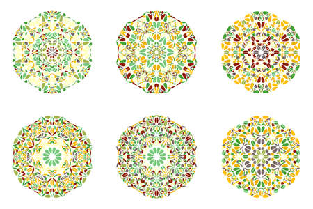 Geometrical abstract ornate round floral mandala  set Иллюстрация