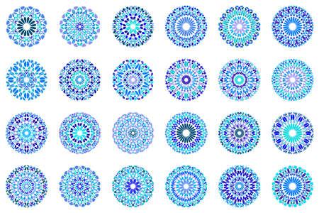 Abstract geometrical round gravel mandala symbol set Иллюстрация