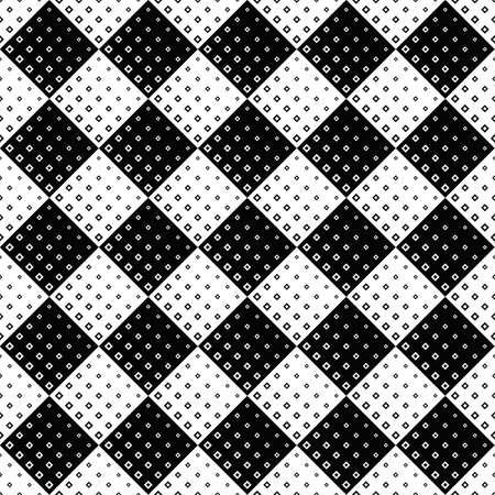 Black and white seamless diagonal square pattern background design Ilustração