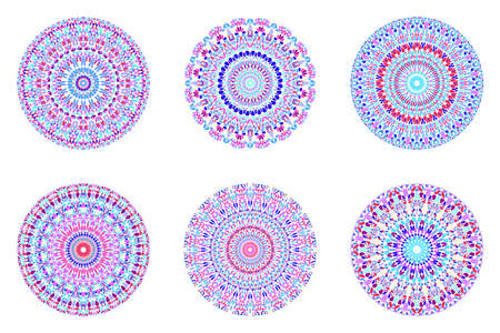 Geometrical abstract round flower ornament mandala set Stock Illustratie