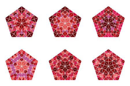 Isolated geometrical polygonal abstract mosaic pentagon symbol set