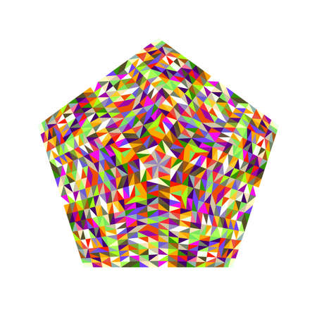 Isolated colorful abstract tiled mosaic polygon  template