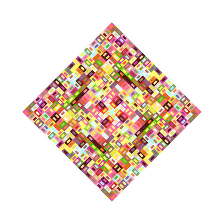 Isolated mosaic square shape - colorful ornamental vector element Standard-Bild - 129167300