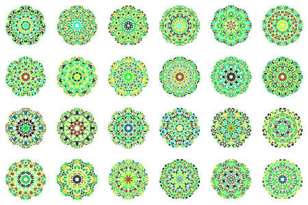 Geometrical abstract flower mandala symbol set