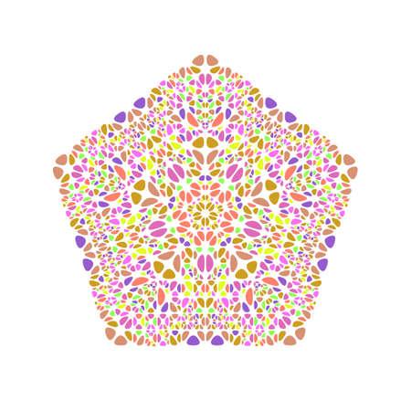 Aufwändige geometrische isolierte florale Ornament Pentagon-Vorlage