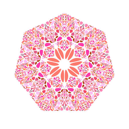 Abstract isolated ornate floral mosaic heptagon symbol
