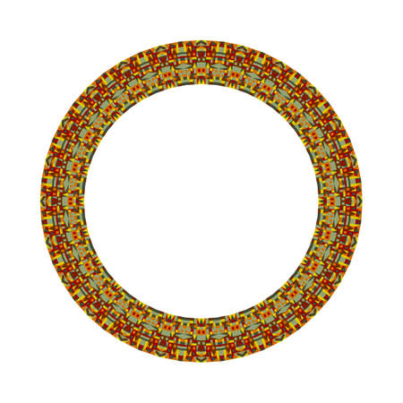 Colorful abstract isolated tiled mosaic round wreath