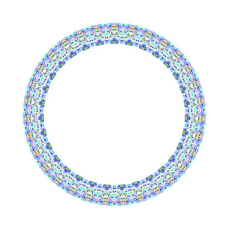 Abstract isolated colorful tiled mosaic circle frame Stock Illustratie