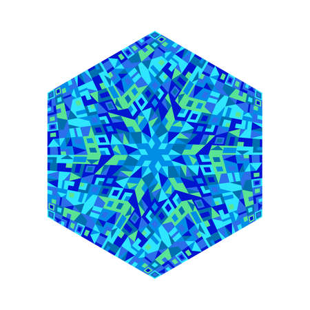 Geometrical colorful abstract tiled mosaic ornament hexagon shape