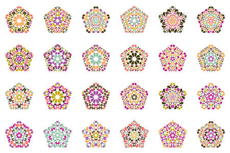 Isolated geometrical floral mosaic pentagon shape set set Иллюстрация