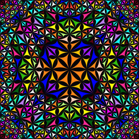 Colorful repeating kaleidoscope pattern background design - abstract ethnic vector wallpaper