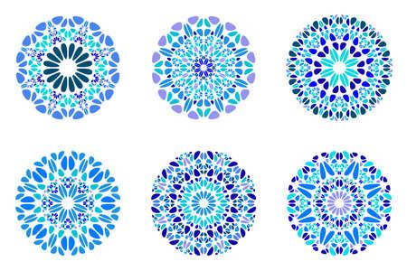 Round abstract colorful stone mandala logo set