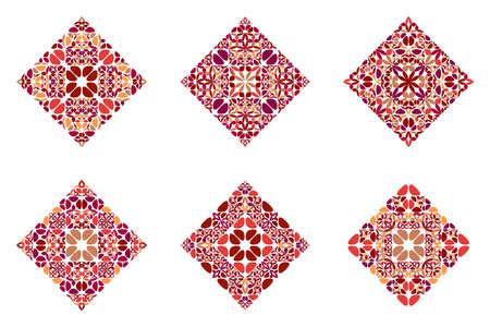 Geometrical ornate floral diagonal square symbol template set