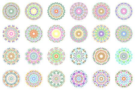 Colorful abstract floral mandala logo design set