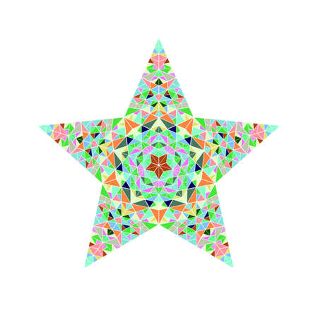 Colorful isolated geometrical abstract mosaic ornament star shape