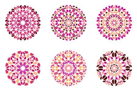 Round ornate colorful geometrical stone mandala logo set
