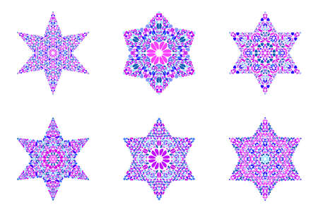 Abstract geometrical isolated gravel star logo template set Çizim