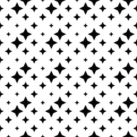 Seamless black and white star pattern background - monochrome abstract geometrical vector design